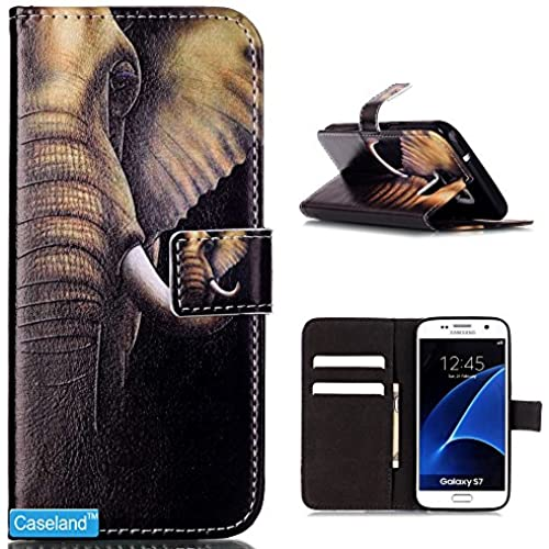 Galaxy S7 Case,Samsung Galaxy S7 Case,CASELAND [Stand Series] Wallet Flip Cover Colorful PU Leather Case for Samsung Galaxy S7 - Elephant Sales