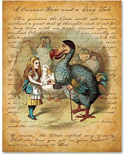 Alice in Wonderland Alice and the Dodo - 11x14 Unframed Alice in Wonderland Print