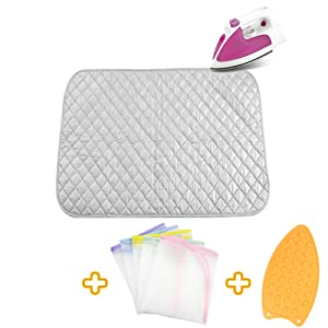 Upgraded Thick Ironing blanket,Travel Ironing Mat Ironing Pad,Portable Double-Side Using,Heat Resistant Pad Cover for Washer,Dryer,Table Top,Countertop,Ironing Board for Small Space (27.6 x 31.5 inch)
