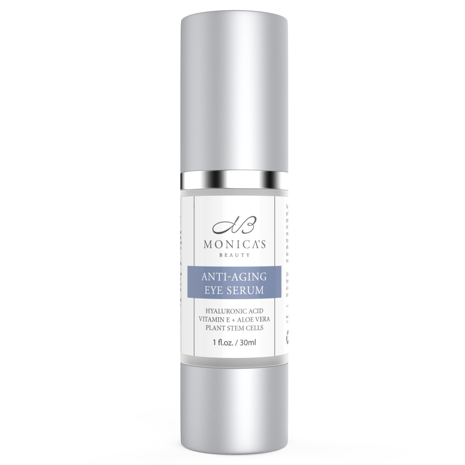 Monica's Beauty Anti-Aging Eye Serum - Eye Wrinkle Cream With Hyaluronic Acid, Vitamin E + Aloe Vera and Plant Stem Cells - Perfect for Getting Rid of Fine Lines, Puffiness, Dark Circles & Crows' Feet