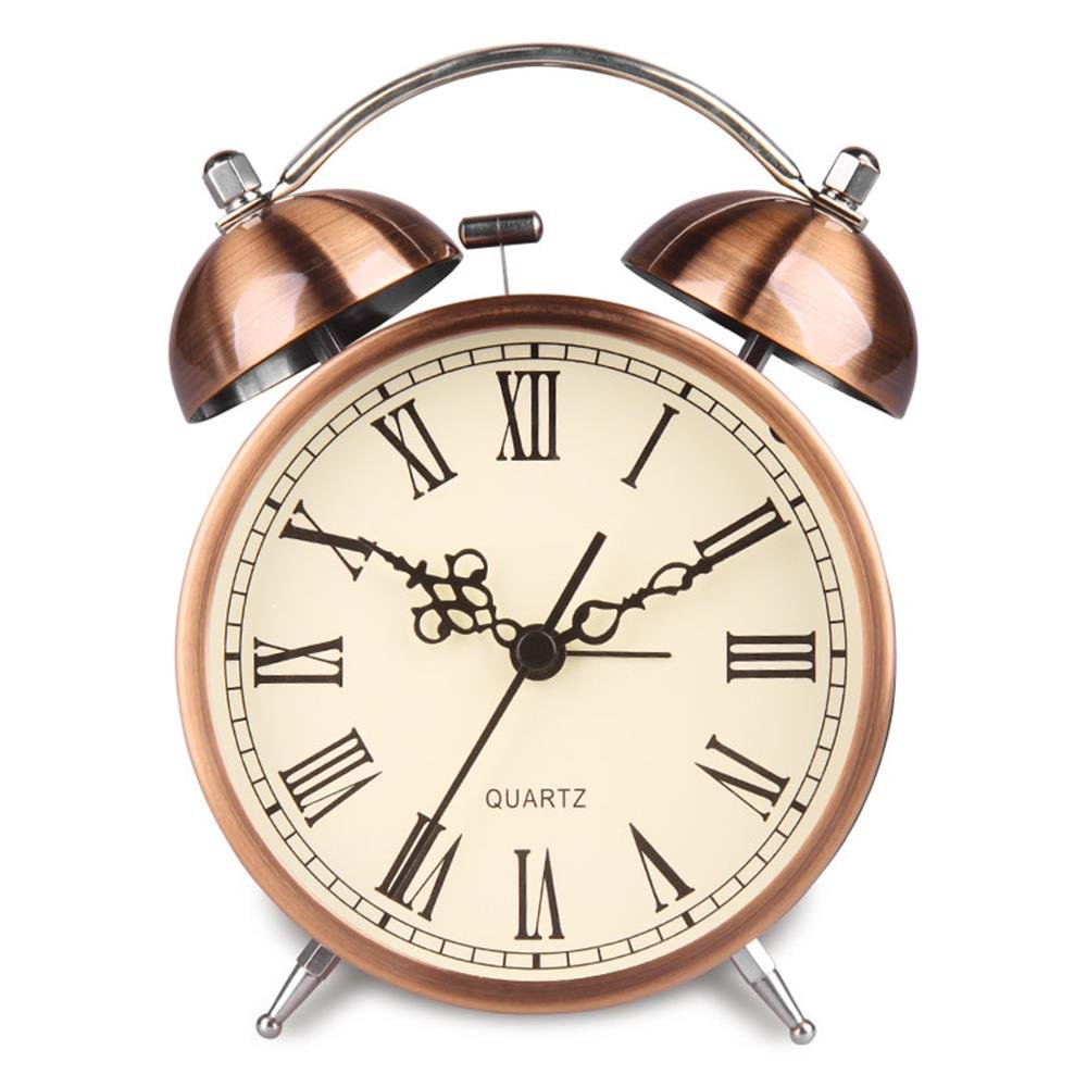 Hersent Twin Bell Alarm Clock Battery Power Night-light Loud Alarm Roman Character Copper Clock Ha41 (4.5''Roman character)
