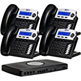 X16 6-Line Small Office Phone System with 4 Charcoal  X16 Telephones - Auto Attendant, Voicemail, Caller ID, Paging & Intercom