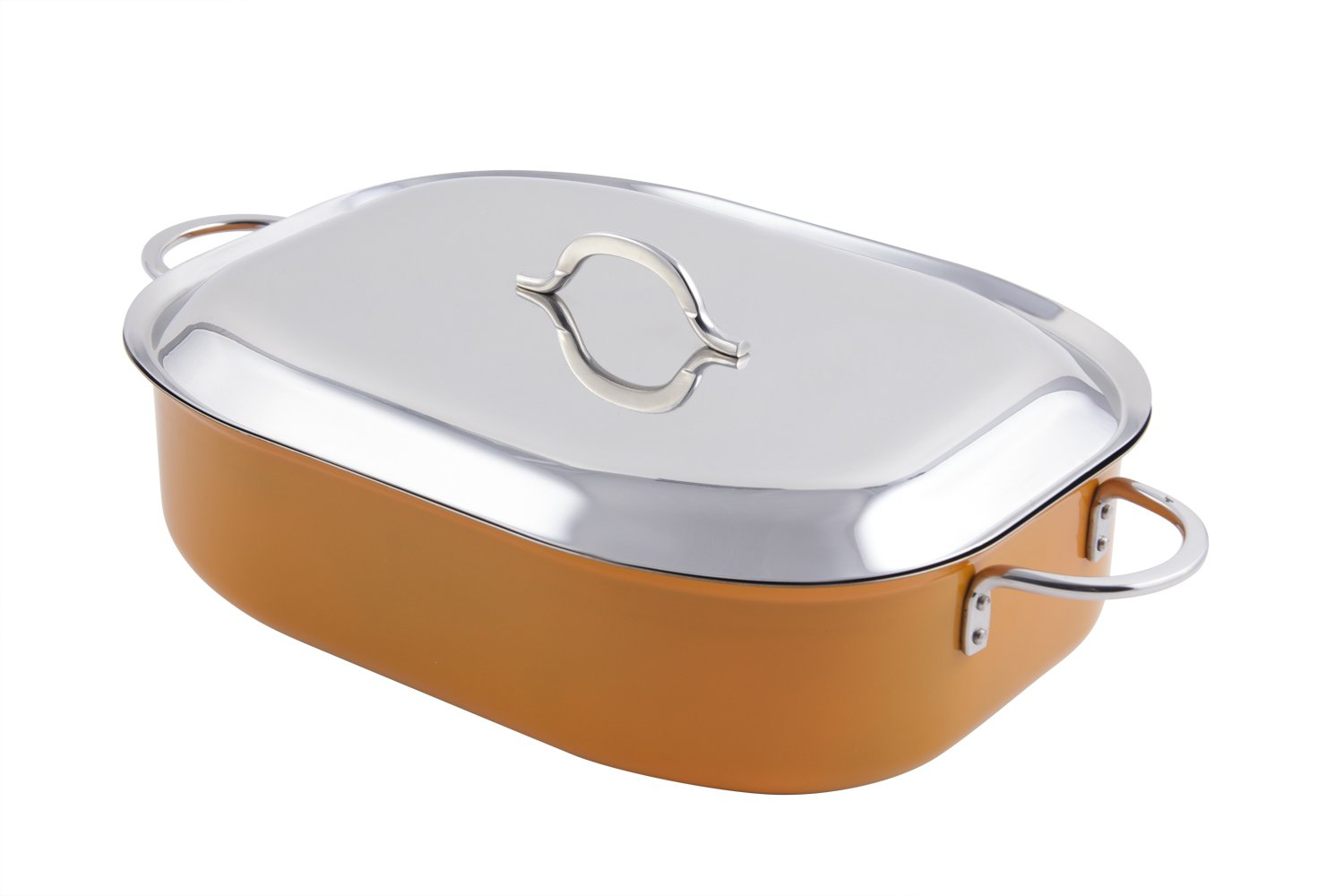 Bon Chef 60004CFCLDOrange Stainless Steel Induction Bottom Classic Country French Oven with Lid, 7 quart Capacity, 15'' Length x 11'' Width x 4'' Height, Orange