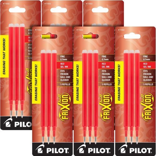 Pilot Gel Ink Refills for FriXion Erasable Gel Ink Pen, Fine Point, Red Ink, 18 total refills by Pilot