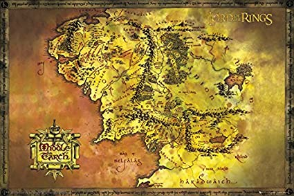 Amazon Com Lord Of The Rings Classic Middle Earth Map Epic Fantasy