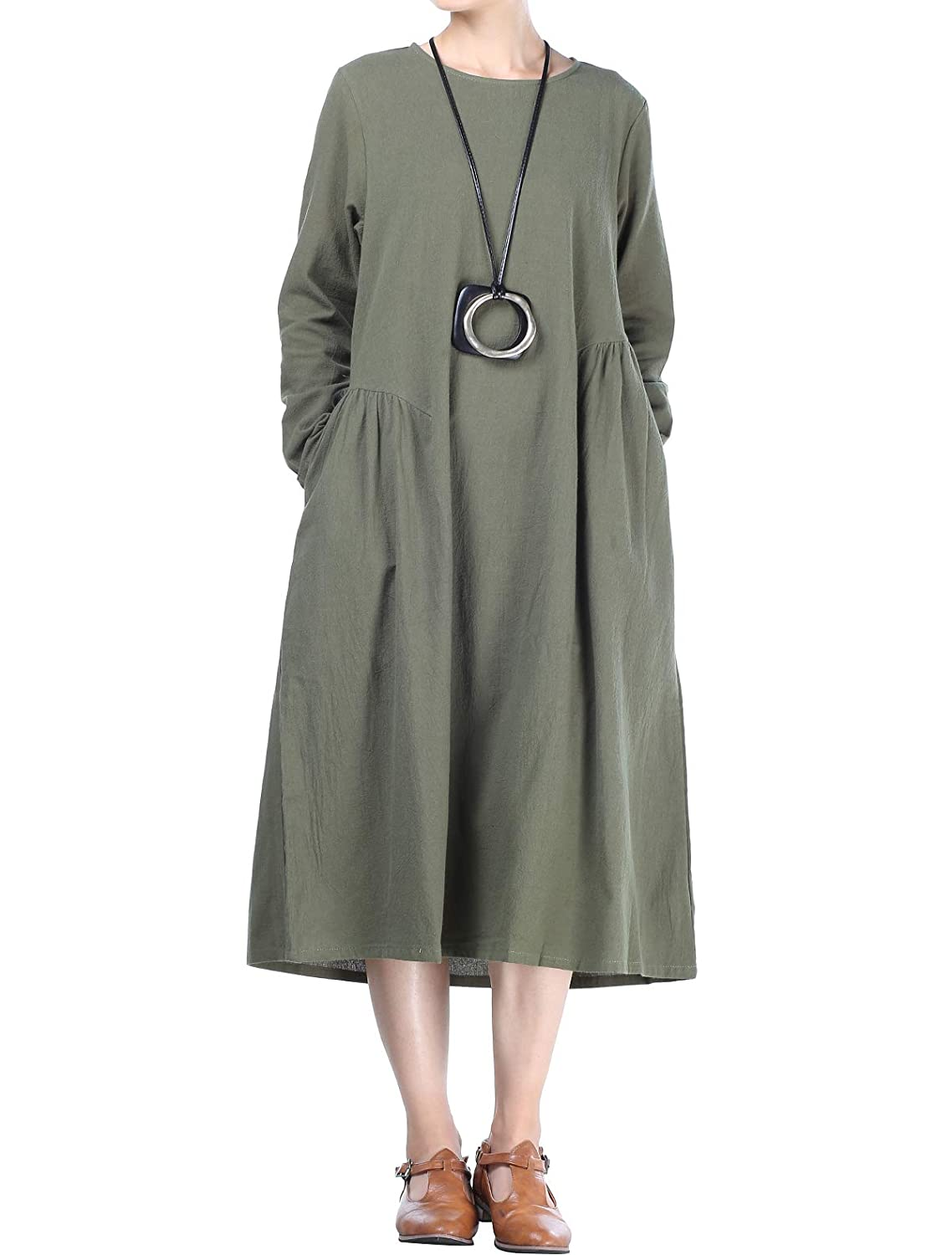 e92ae51673 Mordenmiss Women s Cotton Linen Dresses Fall Loose Fit Basic Dress with  Pockets (L Army Green) at Amazon Women s Clothing store