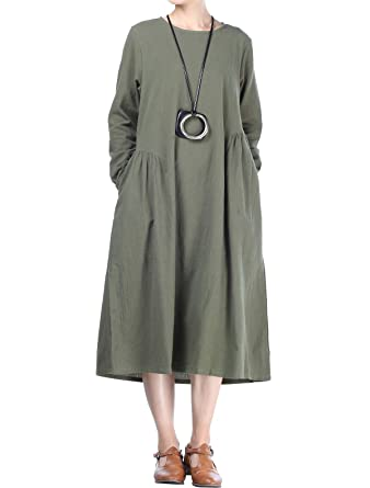 4616625aa3 Mordenmiss Women s Cotton Linen Dresses Fall Loose Fit Basic Dress with  Pockets (L Army Green