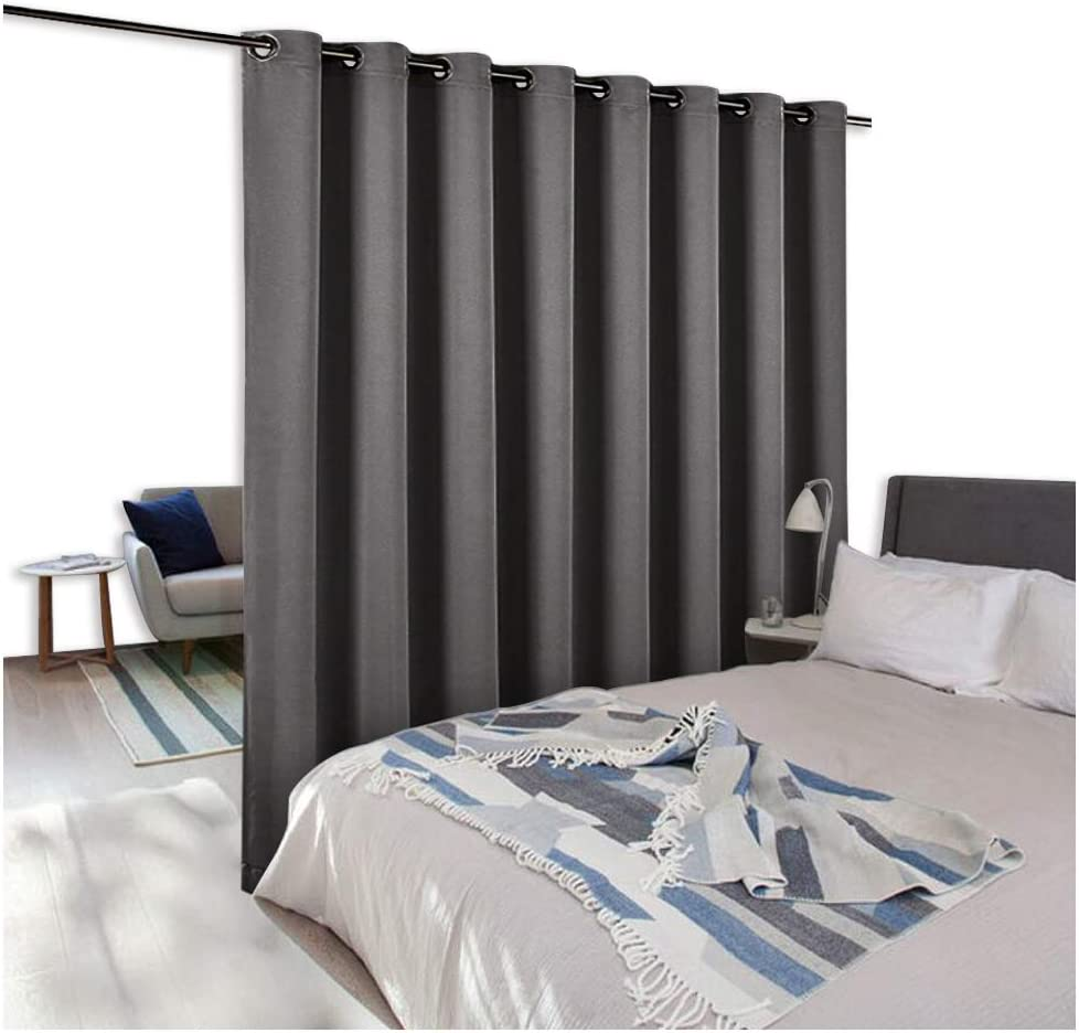 NICETOWN Room Dividers Curtains Screens Partitions, Premium Heavyweight Laundry Room Divider for Office, Vintage and Sliding Room, Including 16 Silver Ring Top (1 Panel, 15ft Wide x 8ft Long, Gray)