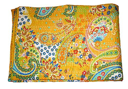 Bohemian Bedding Kantha Size 90 Inch x 108 Inch Sophia-Art Indian Handmade Paisley Print King Size Kantha Quilt Kantha Blanket Pink Bed Cover King Kantha Bedspread