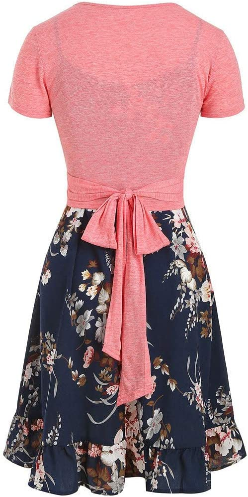 Womens Casual Dress Set,Cami Flower Print Dress With Solid Color Crop T-shirt Navy,M