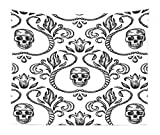 Lunarable Gothic Tapestry King Size, Ornament with Skull Goth Skeleton Floral Design in Baroque Style Illustration, Wall Hanging Bedspread Bed Cover Wall Decor, 104' X 88', Black and White