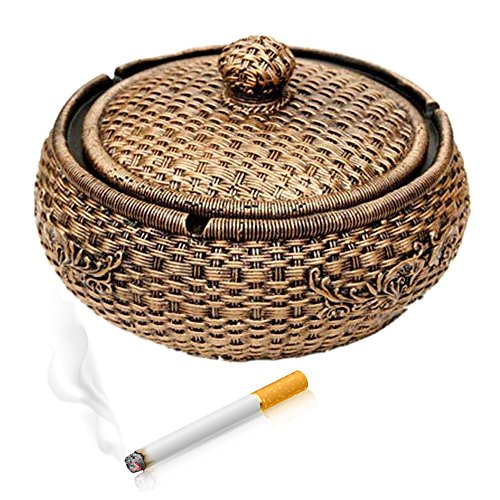 "Max&Mix Creative Durable 5.9"" Valetine's Day Gift Ash Trays Home Decor Creative Eco-friendly Paint Large Cigarette Office Table Capacity Cigar Ashtray with Lid As Father's Day Gift for Men Smokers"