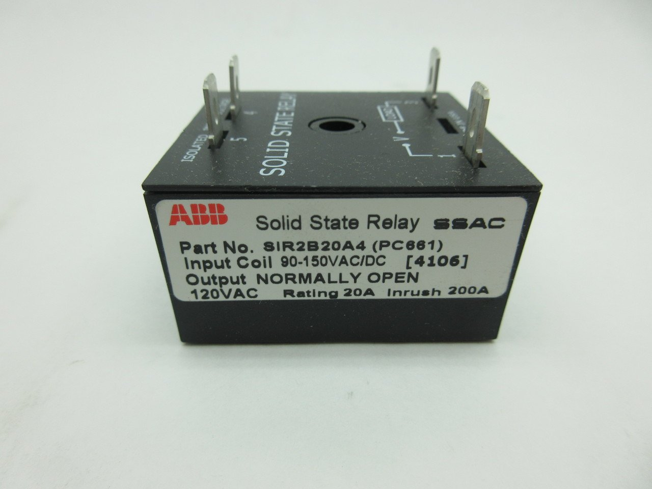 NEW ABB SIR2B20A4 PC661 SSAC SOLID STATE RELAY 90150VACDC D584148