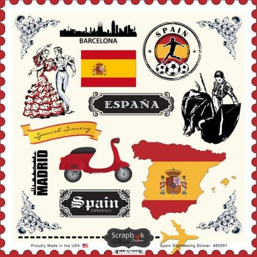 Scrapbook Customs 12 x 12 Cardstock Stickers Spain Sightseeing