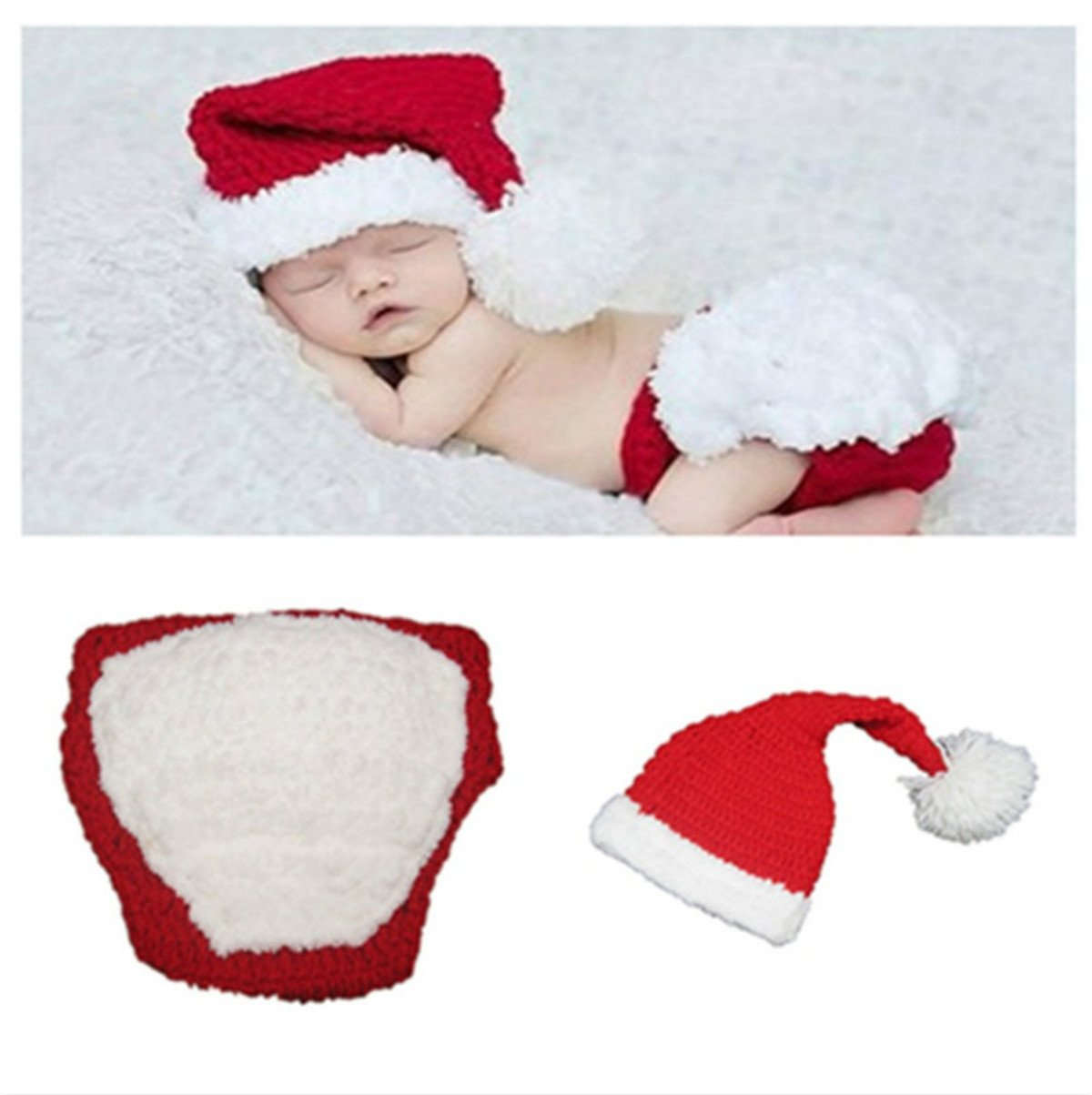 0a9a8e59995 Amazon.com  Newborn Photography Props Christmas Hand Knitting Baby Girl Boy  Elf Hat Pants Outfit Set  Baby