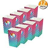 PartyYeah 12 Pieces Rainbow Mermaid Popcorn Candy Treat Boxes, Mermaid Grocery Boxes for Baby Shower Birthday Party Favor, for Filling With Goodies Candy Cookie Snacks Small Toys