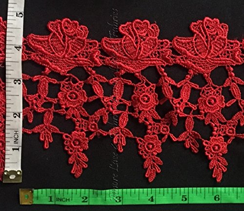 5 Inch Rose Venise Lace Trim, Beautiful Rose with Mini Flowers, 2 Yards, Red ABOVE AVERAGE QUALITY