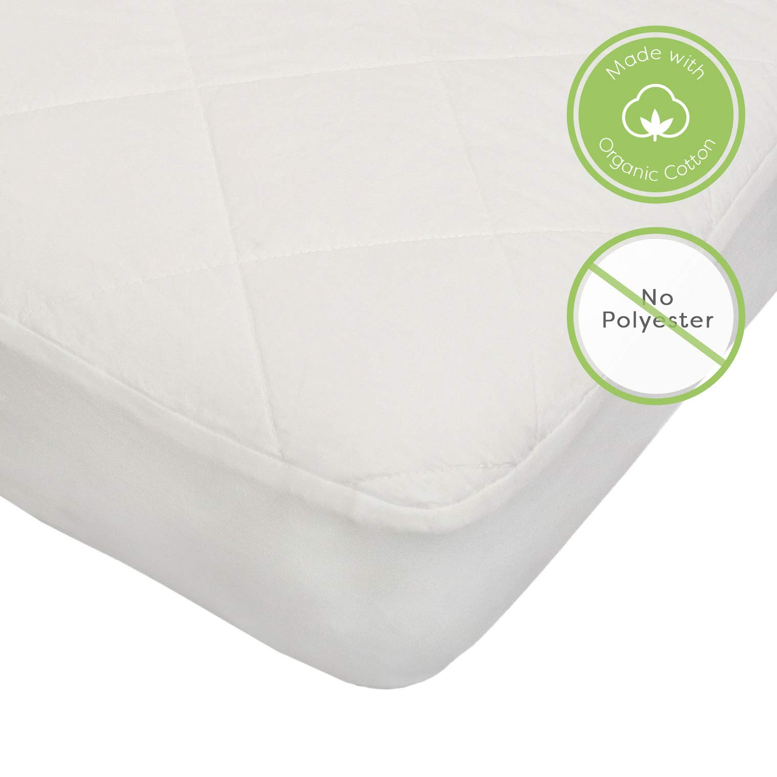 Organic, Waterproof Baby Crib Mattress Protector Pad (Not a Mattress). Polyester and Vinyl Free. Quilted, Breathable. Responsibly-Made with 100% GOTS-Certified Organic Cotton. by Sonsi. by Sonsi (Image #3)
