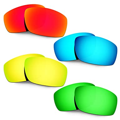 4ad4f395390 Hkuco Mens Replacement Lenses For Oakley Splinter Red Blue 24K Gold Emerald  Green