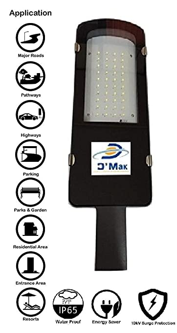 D'Mak™ 30W Waterproof LED Street Light Road Outdoor Industrial White (2 Years Warranty) | Street Light | | Waterproof Street Light | Street Lights at amazon