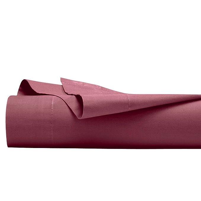 Drap plat 100% percale de coton Aubergine Uni 270 x 300 cm