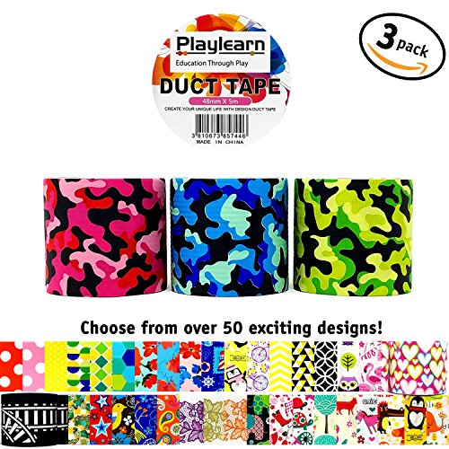 Design Duct Tape 48mm x 16 Feet - Kids Fun Extra Strong Printed Arts & Crafts Multi Pack - By Playlearn (Camouflage)