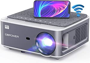 DBPOWER Native 1080P WiFi Projector, 8500L Full HD Outdoor Movie Projector, Support 4D Keystone Correction, Zoom, PPT, 300