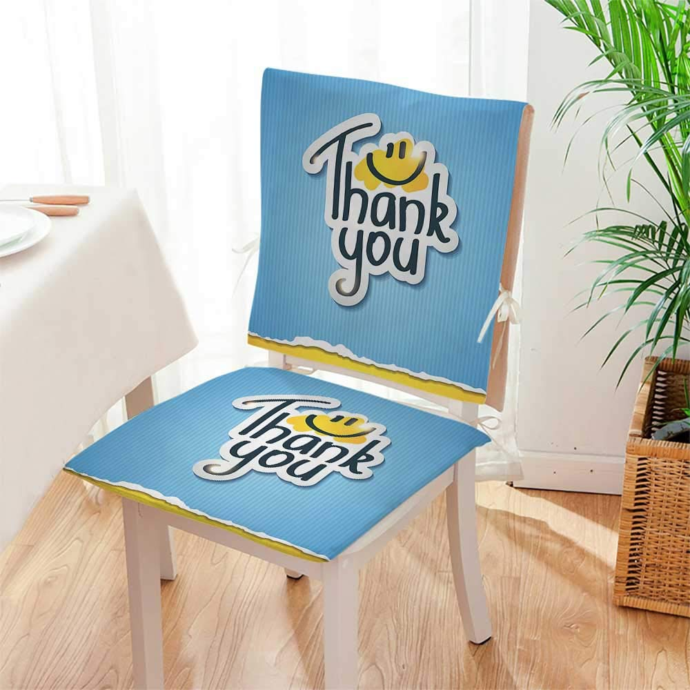 Mikihome Chair Cushion Smile Doodle Blue Striped Typographic Thanksgiving Torn Paper Look Yellow 2 Piece Set Office Chair Car Seat Cushion Mat:W17 x H17/Backrest:W17 x H36