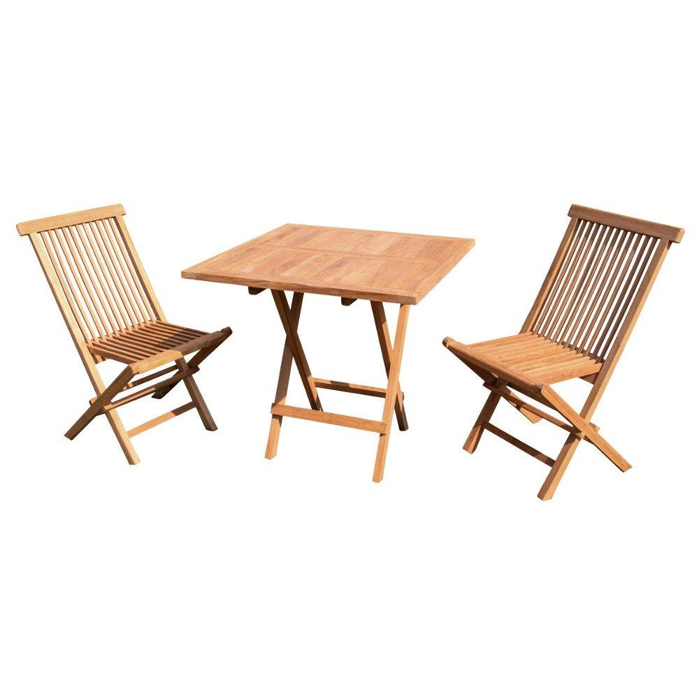 Juego de muebles (3 piezas, madera de teca) 1 mesa, 2 sillas ...