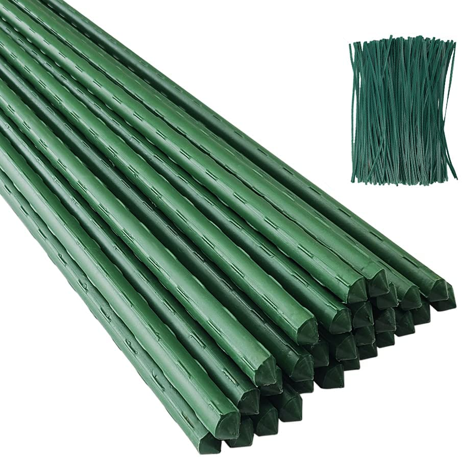 POYEE Garden Stakes 48 Inches 4FT Steel Core & Plastic Coated Plant Stakes for Climbing Plant Support, Tomatoes, Trees, Cucumber, Beans, 50 Pack with 200 Zip Ties