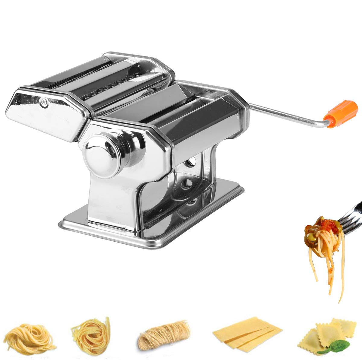 WXCCK Stainless Steel Pasta Maker,6 Adjustable Thickness Settings Make Perfect Spaghetti Or Fettuccini,Roller Lasagne Tagliatelle Cutter for Long Life by WXCCK