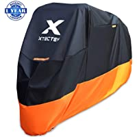 XYZCTEM Motorcycle Cover - All Season Waterproof Outdoor Protection - Precision Fit for 100 inch Tour Bikes, Choppers and Cruisers - Protect Against Dust, Debris, Rain and Weather(XXL,Black& Orange)