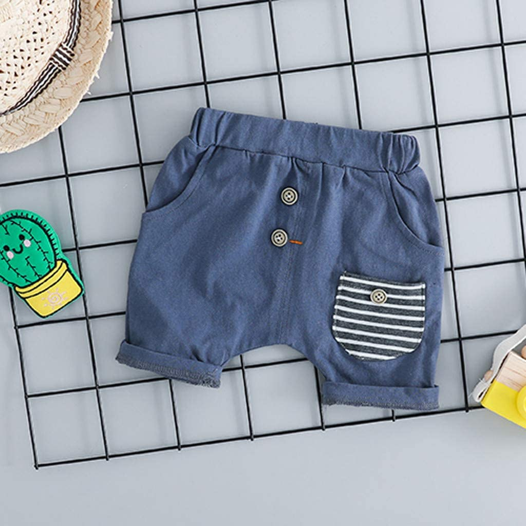 Casual Plaid Pocket Short Pants 2Pcs Set Dinlong Toddler Baby Kids Boys Short Sleeve Cartoon Cactus Letter Printed Tops