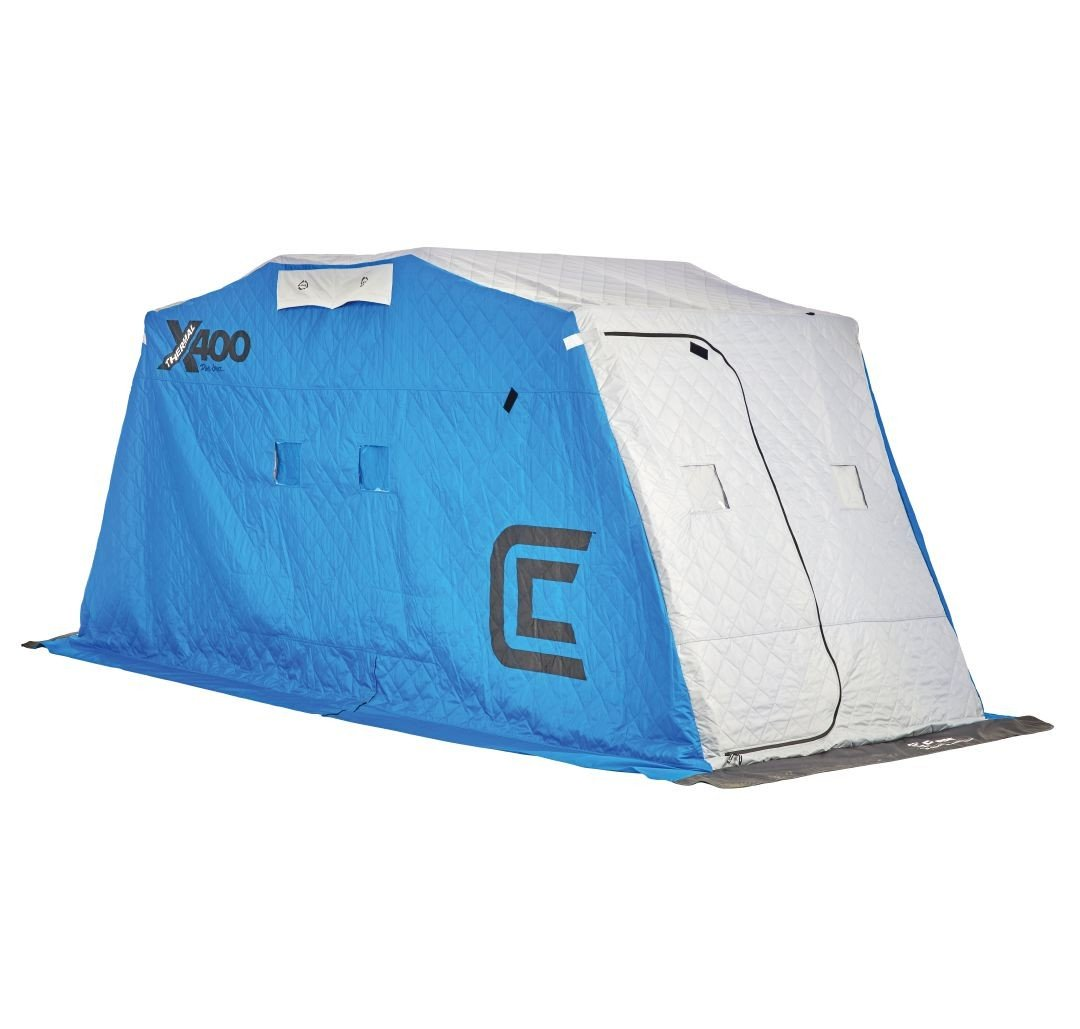 Clam Outdoors 10127 X400 Thermal - 4 man Ice Fishing Shelter w/Grey Sled by Clam Outdoors