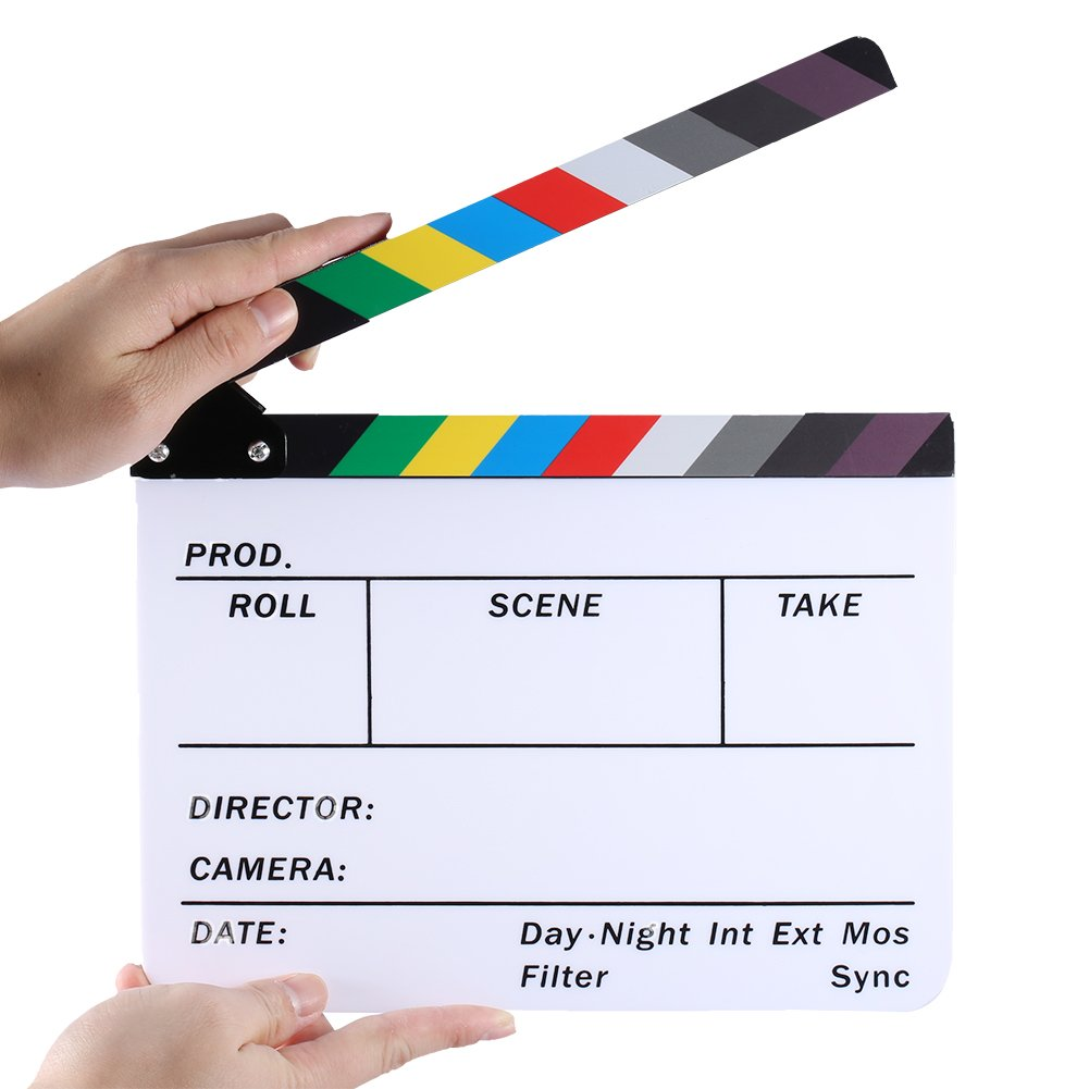 Neewer Acrylic Plastic 10x8/25x20cm Director's Film Clapboard Cut Action Scene Clapper Board Slate with Color Sticks