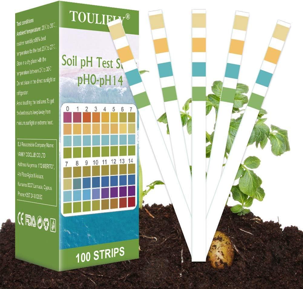 TOULIFLY Soil Test Kit,Soil pH Test Kit,Soil Test Strips,Soil Testing  Kit,Soil pH Test Strips,Soil Testing Strips,pH Strips for Testing Soil, for  Home