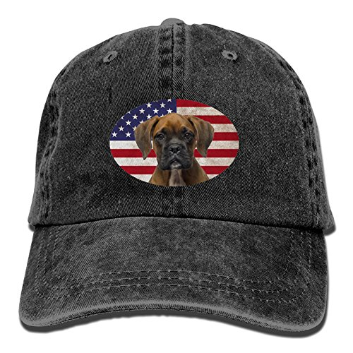 NIWAHO Brindle Boxer Dog U.S.Flag Print Baseball Cap Vintage Dad - Boxer Brindle Dog Gifts