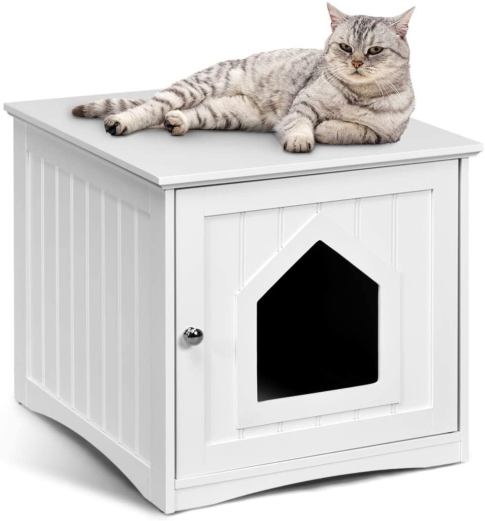 Tangkula Nightstand Pet House Decorative Cat House Cat Home Nightstand Litter Box Furniture Indoor Pet Crate Cat Washroom Litter Box Enclosure White Pet Supplies