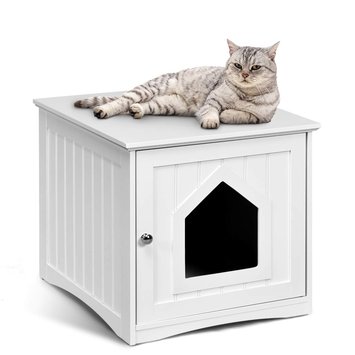 Tangkula Nightstand Pet House, Decorative Cat House, Cat Home Nightstand, Litter Box Furniture, Indoor Pet Crate, Cat Washroom, Litter Box Enclosure (White) by Tangkula