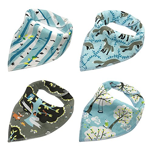 Baby Bandana Drool Bibs, Good for Drooling and Teething - Unisex 4 Pack Bulk for Boys and Girls, Thick and Lightweight (Woodland Wolf)