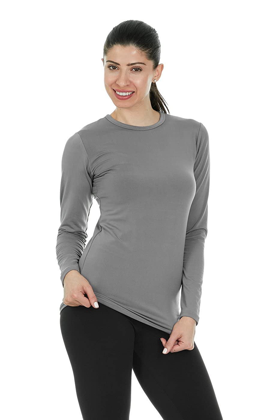 2c34cedb Thermajane Womens Ultra Soft Thermal Underwear Shirt - Compression  Baselayer Crew Neck Top at Amazon Women's Clothing store:
