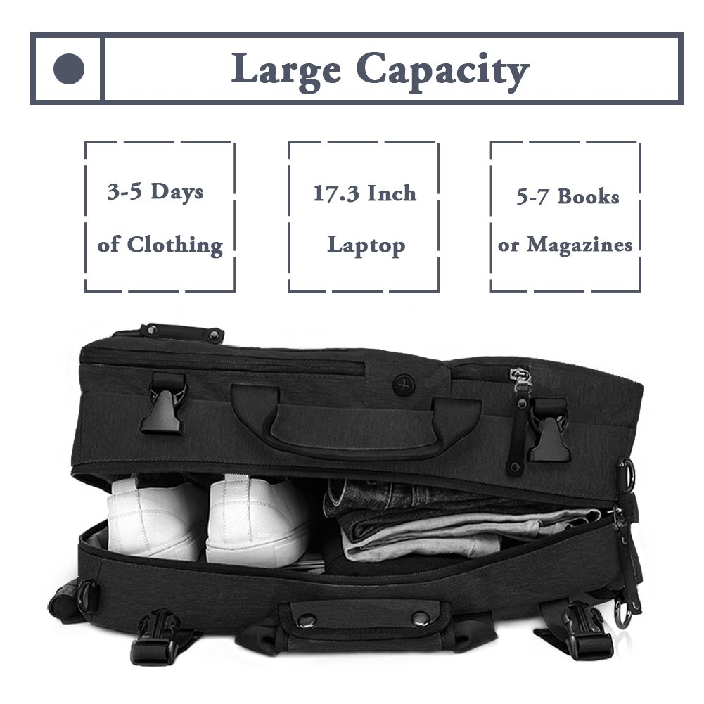 TANGCOOL Convertible Backpack Business Briefcase Backpack 15.6 Laptop Bag Large Capacity Rucksack Waterproof Anti-theft Travel Luggage Casual Daypack for Men, Black