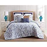 3 Piece Navy Blue White Paisley Floral Pattern Duvet Cover King Set, Beautiful Rich Motif Flowers Print, Features Button Closure, Reversible Bedding, French Country Style, Cotton