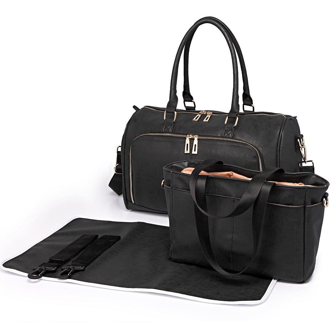 Miss Lulu 3 Pieces Baby Nappy Diaper Changing Bag Set Large Shoulder Handbag PU Leather Tote (6638 Black)