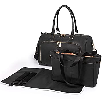 ad03bdd93555d Amazon.com : Miss Lulu Diaper Bag Nappy Bags for Baby Care Maternity  Changing Shoulder Handbag PU Leather Large Tote 3 Piece (6638 Black) : Baby