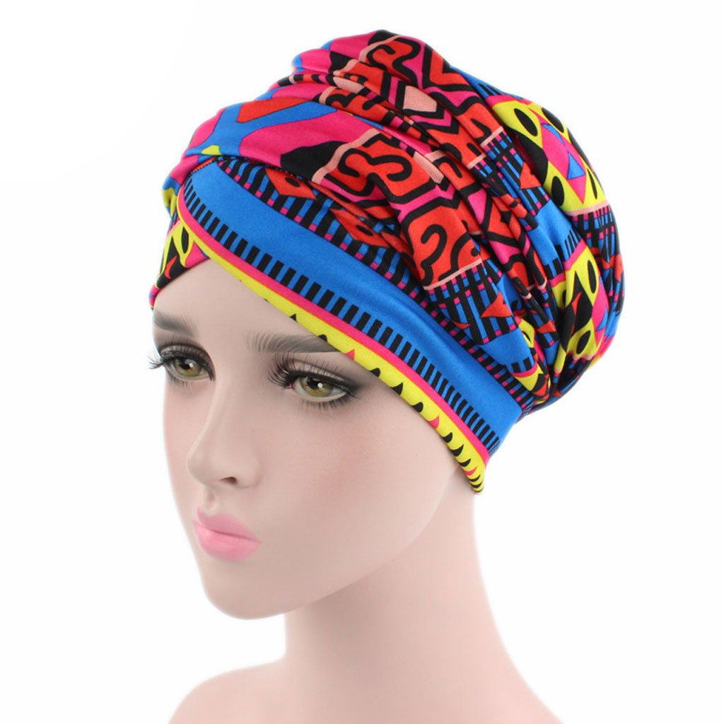 Lamdoo Women Indian Stretchy Turban Hat Colorful Pleated Head Wrap Chemo Cancer Hat New A# Red+Blue Geometric