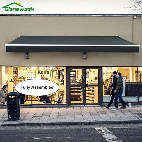Diensweek 10'x7' 100% Acrylic Outdoor Patio Awning Retractable Manual Commercial Grade - Quality Window Sunshade,Deck Canopy Balcony M100 Series,3 years warranty (10'x7',Dark Grey, Manual)