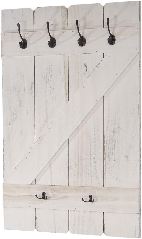 Mendler Serie vintage set 2x appendiabiti attaccapanni legno paulonia 3 ganci 6x28x109cm marrone