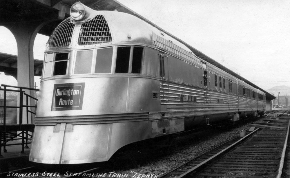 The Zepher - Stainless Steel Streamlined Train (12x18 Art Print, Wall Decor Travel Poster)