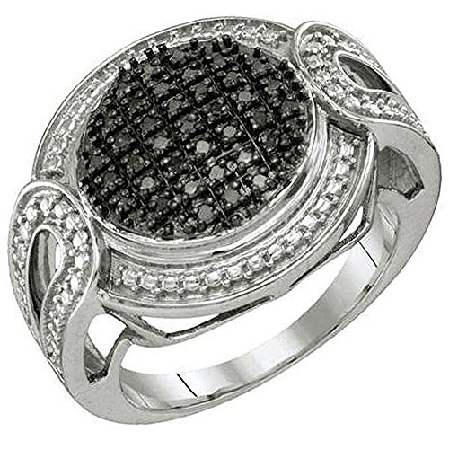 0.24 Carat (ctw) Sterling Silver Blue Diamond Ladies Micro Pave Right Hand Ring 0.24 Ct Pave Diamond